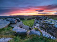 Stanage afterglow (Stephen Elliott Photography) Tags: peak district derbyshire hopevalley hathersage sunset evening afterglow summer olympus em1 714mm kase filters