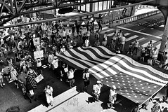 Keep Families Together Rally and March - Chicago (draketoulouse) Tags: chicago loop protest street streetphotography blackandwhite monochrome flag immigration march trump politics