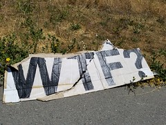WTF? (quinn.anya) Tags: berkeley sign cardboard ripped protest wtf
