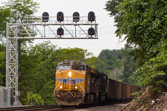 Drag It East (nrvtrains) Tags: ada christiansburgdistrict load norfolksouthern unionpacific coal 768 bluefield westvirginia unitedstates us