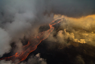 Hawaii Kilauea Volcano Fissure 8 Lava River Clouds 3