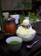 Shaved Ice with Vanilla Ice Cream (Long Sleeper) Tags: sweets dessert cafe kazuha 一葉 shavedice icecream redbeans azuki riceflourdumpling shiratama tea greentea spoon hachioji tokyo japan dmcgf1