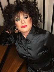 Black satin (Sissy kaylah) Tags: heavymakeup transvestite tranny trans crossdress crossdresser crossdressing satin blackblouse blackhair