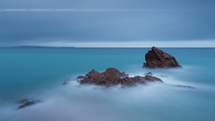 Sweet-Dark (Blue) Rockscape in Cannes (Yannick Lefevre) Tags: france cannes alpesmaritimes frenchriviera cotedazur rockscape landscape seascape longexposure nikon d810 raw nef lightroomcc photoshopcc nikkor24120f4 kasefilters ndfilter wolverineseries nd64 09gndsoft blue rock beach bay minimalist perspective island lerinsisland clouds storm morning dawn