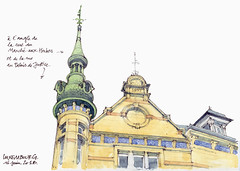 Luxembourg, tourelle (gerard michel) Tags: luxembourg architecture sketch croquis aquarelle watercolour