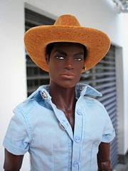 Man with hat (Deejay Bafaroy) Tags: fashion royalty fr doll puppe integrity toys portrait porträt darius reid black schwarz playing it cool homme male hat hut lightblue hellblau yellow gelb orange
