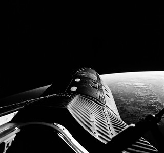 The Gemini-12 spacecraft during standup extravehicular activity with the hatch open. Original from NASA. Digitally enhanced by rawpixel.