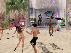 Thunderstorm on the Beach - nothing stops the party (zena_oh) Tags: firestorm secondlife secondlife:region=hastara secondlife:parcel=diamondsandpearlsmusiccafe secondlife:x=43 secondlife:y=236 secondlife:z=23