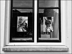 Hats in the city! (Ageeth van Geest) Tags: utrecht window hatsandco iphone bw blackandwhite monochrome hat woman portrait smileonsaturday