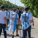 Argentinian soccer fans marching towards the stadium thumbnail