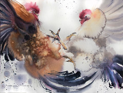 tough discussion (Olga Flerova) Tags: rooster chicken bird watercolor art painting drawing