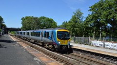 185103 dashes through Bamford with the 1B78 Manchester Airport to Cleethorpes, 28th June 2018. (Dave Wragg) Tags: 185103 class185 tpe transpennineexpress dmu railcar bamford hopevalleyline derbyshire 1b78 railway