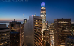 Salesforce Tower Sunrise (20180630-DSC00482) (Michael.Lee.Pics.NYC) Tags: sanfrancisco salesforcetower baybridge hotelview loewsregency sunrise aerial night dawn bluehour architecture cityscape skyline sony a7rm2 zeissloxia21mmf28