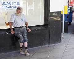 Beauty and Fragrance (D John Walker LRPS) Tags: street man worker working poster boots beard
