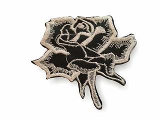 Applikation zum Nähen, Rose schwarz-weiss