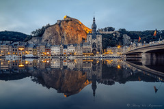 Dinant (vanregemoorter) Tags: night city ville cityscape eau fleuve bridge church église bluehour paysage ciel montagne