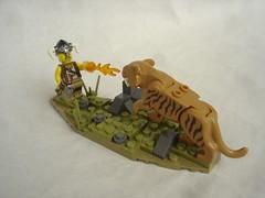 Skyrim - sabre cat encounter-1 (fdsm0376) Tags: lego moc landscapping skyrim saber cat dovakhiin fire