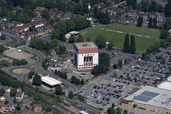 Chatterton Tower in Spalding - aerial view (John D Fielding) Tags: spalding lincs lincolnshire architecture above aerial nikon d810 hires highresolution hirez highdefinition hidef britainfromtheair britainfromabove skyview aerialimage aerialphotography aerialimagesuk aerialview drone viewfromplane aerialengland britain johnfieldingaerialimages fullformat johnfieldingaerialimage johnfielding watertower chatterton chattertontower anglianwater