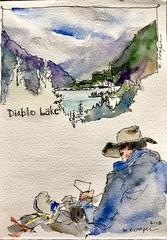 Overlooking Diablo Lake (MicheleC2) Tags: fireflywatercolorchallenge worldwatercolormonth worldwatercolorgroup sketching nature journal watercolor alpinelake mountain diablolake nationalpark northcascades