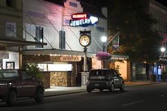 Salewsky's Jewelry (Curtis Gregory Perry) Tags: centralia washington night long exposure neon sign salewsky jewelry jeweler tower avenue kia mazda soul car nikon d810 b2200 rectangle gallery clock
