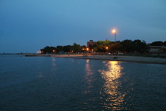 Shimmer (Flint Foto Factory) Tags: chicago illinois urban city summer july 2018 north rogerspark leonebeach park lakemichigan lake night nocturnal evening dusk water shimmer waves light reflection pier 1222 wtouhyave touhy sheridan intersection sooc straightoutof camera