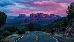 Road To Red Rock Country (Guy Schmickle) Tags: arizona cathedralrock coconinonationalforest courthousebutte sedona scenicroad sunriseorsunset