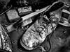 Missing Sole Mate (J Wells S) Tags: oldshoe boot shoe blackandwhite monochrome bw junk abandoned campwashington cincinnati ohio