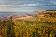 Druridge Bay (Missy Jussy) Tags: druridgebay creswell northumberland northeastcoast england greatbritian sky clouds water ocean sea seaside coast coastline sunlight eveningsun landscape land bird fence grass hillside sand sanddunes view canon 50mm ef50mmf18ll ef50mm canon50mm fantastic50mm canon5dmarkll canon5d canoneos5dmarkii hemscotthillfarm