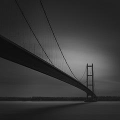 Suspension (Paul Evans.) Tags: blackandwhite monolongslowexposure waster river estuary nd neutral density suspension bridge
