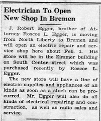 1944 - Egger opens repair shop in Zimmer bldg - Enquirer - 13 Jan 1944