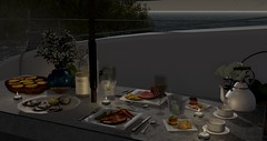 Seaside Dinner for 2 (by Epifania Nhafiero) Tags: keke candlelight wine dutchie fancydecor applefall gingerline roleplay landscape romance outdoors secondlife seafood dinner yacht