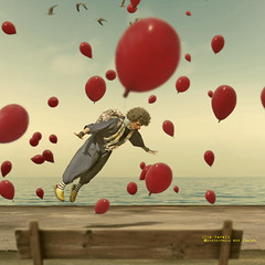 The flying clown (olgavareli) Tags: olga vareli clown flying balloon sea summer dream magic realism bench cloud