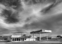 Good to the Last Drop (Warren06) Tags: gasstation abandoned usa southwest desert blackandwhite bw monochrome sun shadows sky clouds urbandecay lonely deserted