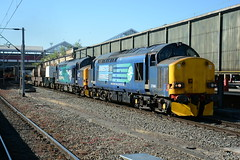 37606 and 37218 Crewe 27/06/2018 (Brad Joyce 37) Tags: 37606 37218 6k41 class37 drs directrailservices locomotive doubleheader flask freight crewe cheshire station sunshine bluesky nikon d7100