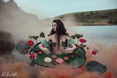 The Pain of Nymphaea (Elis's ☾) Tags: fairy fantasy smoke 2470mm canon5dmark3 model nimph ninfea nimphaea aquatic plant pond stagno flowers fiori leaf lotus loto lago lake colorful portrait ritratto portraiture ritrattistica fineart art artistic arte girl light luce conceptual concettuale props portfolio faierytale fable vintage beauty beautiful