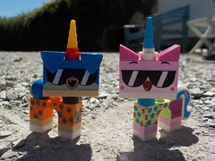 We love the summer! (Lego Custom Zone) Tags: lego minifigs toy minifigure toys unikitty puppycorn summer sun hot photo smile outfit sunglasses cool dude stone