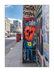 Street Art (Mowscodelico), East London, England. (Joseph O'Malley64) Tags: mowscodelico streetartist streetart urbanart publicart freeart graffiti eastlondon eastend london england uk britain british greatbritain art artist artistry artwork mural muralist wallmural wall walls hordings fencing woodenpanels constructionsite buildingsite street highstreet thoroughfare pavement postboxes blockpaving accesscovers traffic pub publichouse oldbluelast officeblocks businesspremises tarmac redroute nostoppingatanytime parkingrestrictions urban victorianbuildings victorianstructures gentrification creepinggentrification urbanlandscape aerosol cans spray paint fujix fujix100t accuracyprecision