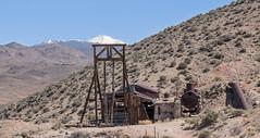 MIne with Arc Dome (joeqc) Tags: nevada nv nye abandoned forgotten fuji xt20 xf18135f3556 desert rurex arcdome toiyabe mine mining headframe snow