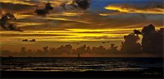 A golden sunrise. (Aglez the city guy ☺) Tags: miamifl miamibeach southpointebeach earlyinthemorning sunrise walking walkingaround waterways seashore seascape beachscape beachshore urban outdoors clouds colors gold