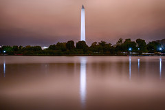 Across the Tidal Basin (SunnyDazzled) Tags: washingtonmonument washington dc capitol pink glow sky clouds rain reflection tidalbasin water lights night longexposure hdr nightphotography