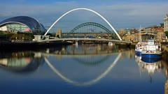 Newcastle upon Tyne Quayside panorama, on a reflective sunny morning (WISEBUYS21) Tags: august 10th 2018 sage milleniumbridge tynebridge rivertyne boat boats reflection reflections wisebuys21 tyne river cruise swing bridge high level blinking eye top 10 favourite trending newcastle upon quayside panorama relfecting sunny morning glass mirror golden hour tourist trap great exhibition north run still flowing water free money fantastic meg colpitts jimmy forsyth local heroes capturing time gateshead silver slug pitcher piano public domain dedication creative commons geotagged