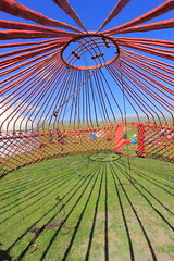 Between Yurt and Me (Eye of Brice Retailleau) Tags: beauty colourful colours composition scenery scenic extérieur sky blue skyscape architecture arch arche coupole cupola dome perspective ciel earth outdoor building skyline travel bâtiment infrastructure structure bluesky color colors colorful yurt yourte roof red green grass silk road central asia asie kyrgyzstan song kol
