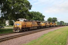 Another westbound stack train (kschmidt626) Tags: union pacific train illinois rochelle park railroad graffiti bnsf burlington diamond