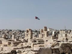 Jordanian Flag Viewed from the Citadel (david_e_waldron) Tags: jordan amman