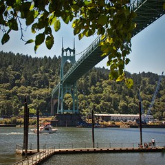 Saint Johns bridge and dock 7 14 2018 (rbdal (Rick Dalrymple)) Tags: saintjohnsbridge stjohnsbridge 1931 cathedralpark citypark park suspensionbridge historicbridge bridge suspensioncabletowers architecture bridgearchitecture cathedrallikedesign cathedralarch architecturalattraction summer portland multnomahcounty oregon d7000 nikon bridgephotography