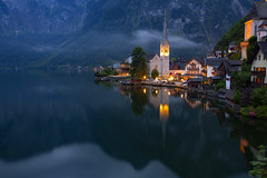 Hallstatt (yan08865) Tags: hallstatt austria mountains lake water landscapes night nature cloud earth pavlis unesco rocks travel tranquil waterflow photographers mountain forest bay sea sky boat river landscape dusk canoneos1dsmarkiii