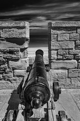 Long Barrel (alan.dphotos) Tags: bamburgh castle sea north canon stumpy long monochrome blackandwhite black white landscape relics naval guns heavy ramparts