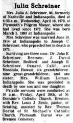 1979 - Julia [Pfleger] Schreiner obit