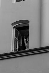 At the open window (..Jan) Tags: girl cigarette room bnw schwarzweis zimmer street streetphotography zigarette rauchen frau mädchen woman