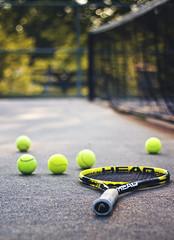 Evening Tennis (Tiara Rae Photography) Tags: evening tennis bokeh depth field racket balls sports equipment sport net court nebraska omaha still life stock photography